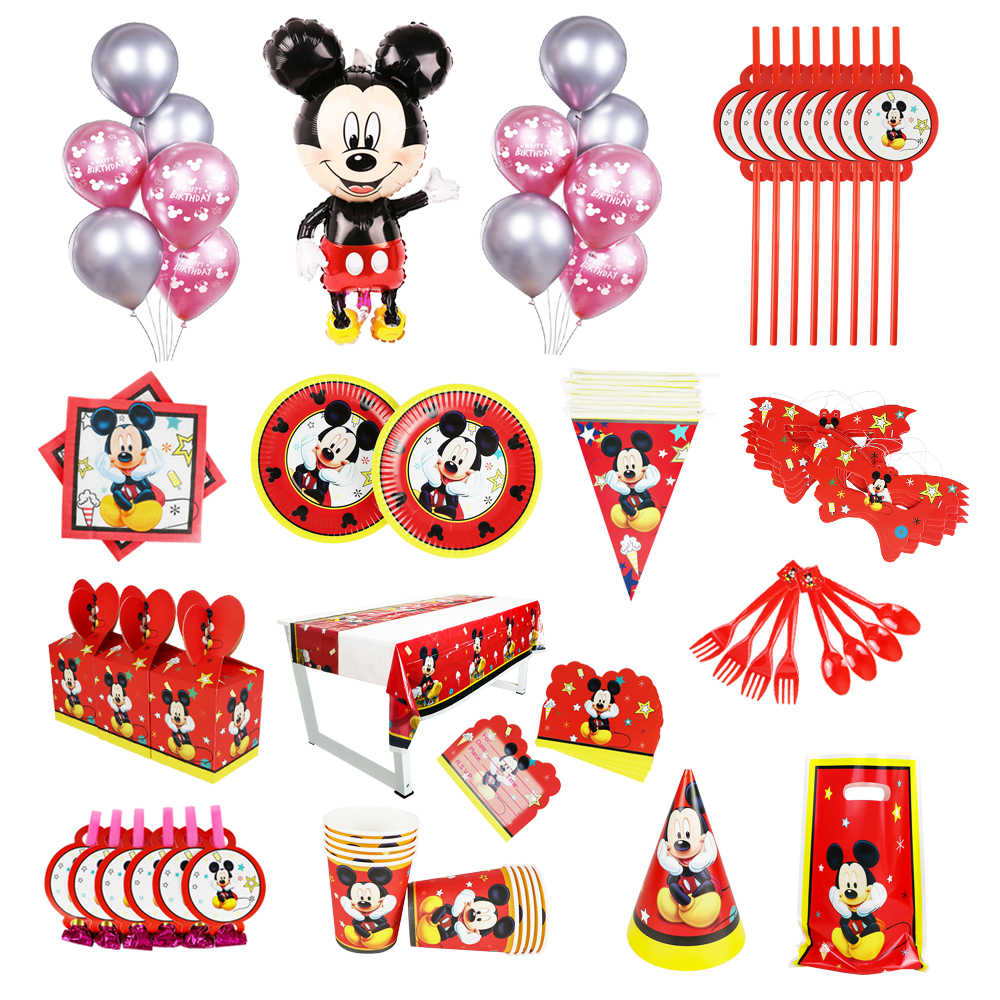 Hot Disney Mickey Mouse Birthday Party Kids Tablecloth Paper Cups Plates Balloon Box Baby Shower Decoration Disposable tableware