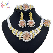 Yulaili New Fashion Dubai Gold Jewelry Sets for Women Party Wedding Gift Bridal Crystal Tricolor Necklace Stud Earriings Set