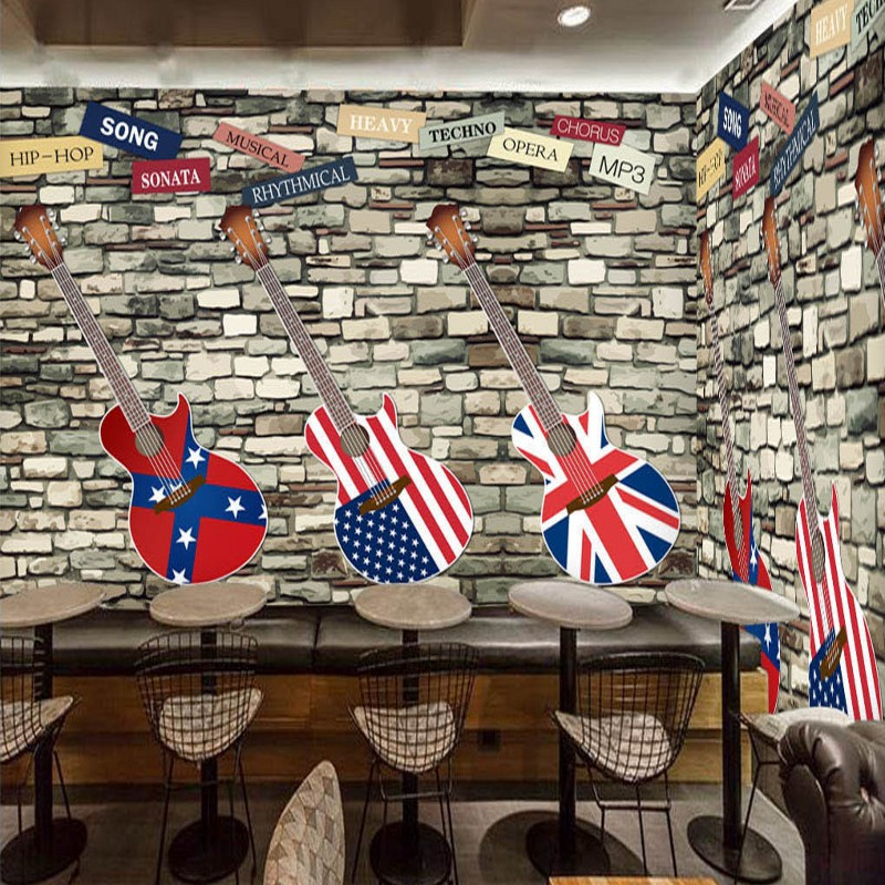 Dropship Custom Mural Retro Guitar Fresco Brick Wall Wallpaper Bar Coffee Shop Background Wall Studio Mural 3d Wallpaper