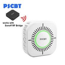 PSCBT Rookmelder Draadloze 433MHz Fire Security Alarm Bescherming Alarm Sensor voor Alarmsysteem, werk voor Sonoff RF Brug