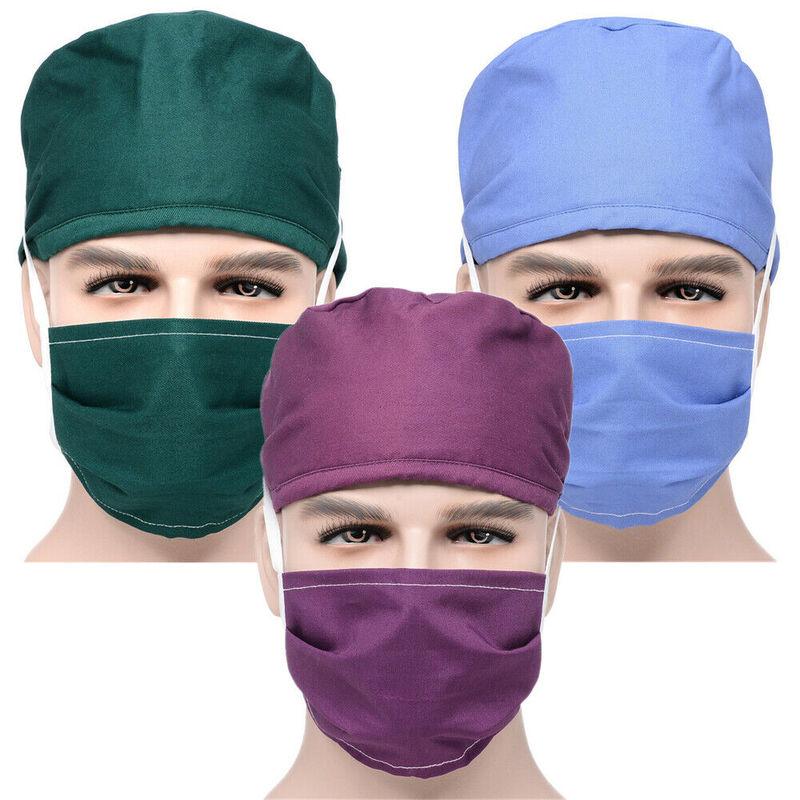 Hospital Surgical Anti Dust Hats+Mask Sets Nursing Scrubs Caps Breathable Cotton Doctor Pharmacy Dentistry Nurse Work Caps Mask