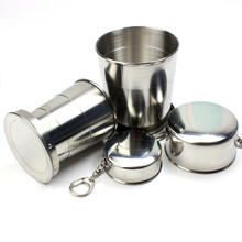 Tasse pliante en acier inoxydable, télescopique, Portable, voyage en plein air, Camping, avec porte-clés, tasse à eau, café, 75ml/150ml/250ml