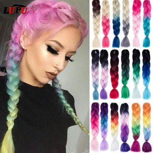 LUPU Ombre Color Jumbo Braid Synthetic Hair Extensions Pink Purple Black Blonde High Temperture Fiber Kanekalons For Hair