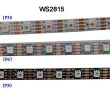 DC12V WS2815 piksel led şerit ışık, adreslenebilir çift sinyalli akıllı, 30/60/144 piksel/leds/m siyah/beyaz PCB,IP30/IP65/IP67