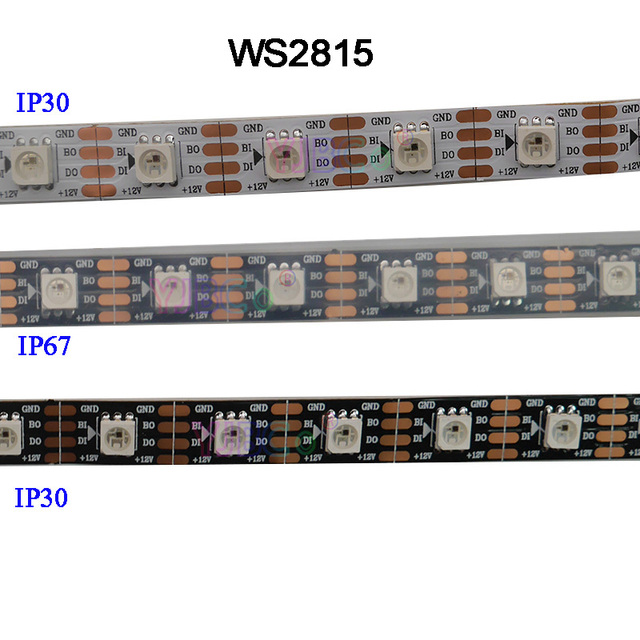 DC12V WS2815 pixel led streifen licht, Address Dual signal Smart,30/60/144 pixel/leds/m Schwarz/Weiß PCB,IP30/IP65/IP67