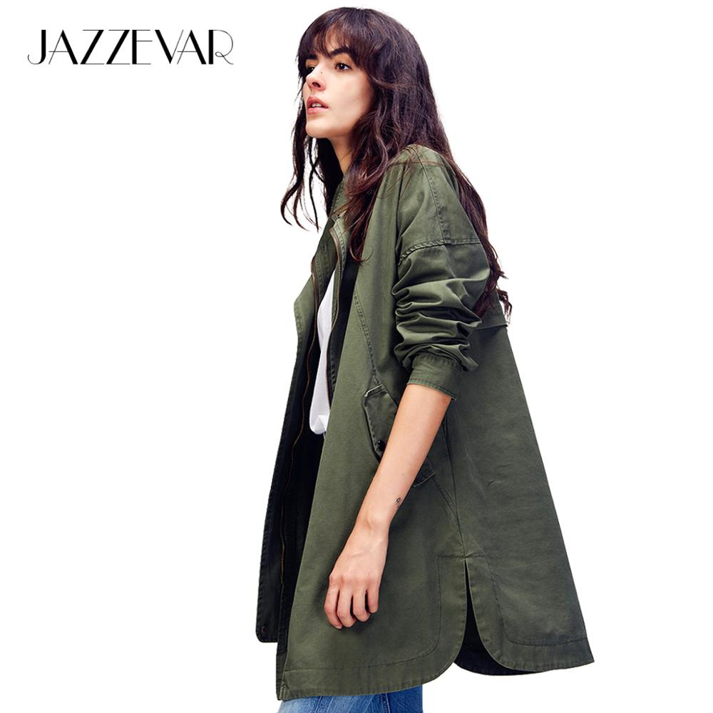 JAZZEVAR 2019 New Women's Casual Cotton Trench Coat Army Green Outerwear Cotton Loose Clothing High Quality