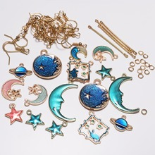 Blue Star Moon DIY Earrings Jewelry Package Pendant Earring Material Accessories Ear Findings Making Kit Set