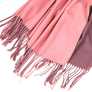 Image 5 - Bufanda de Cachemira de doble cara para mujer, pañuelo cálido para la cabeza, chales y envoltorios, manta de Pashmina suave de dos colores, Foulards, 2020
