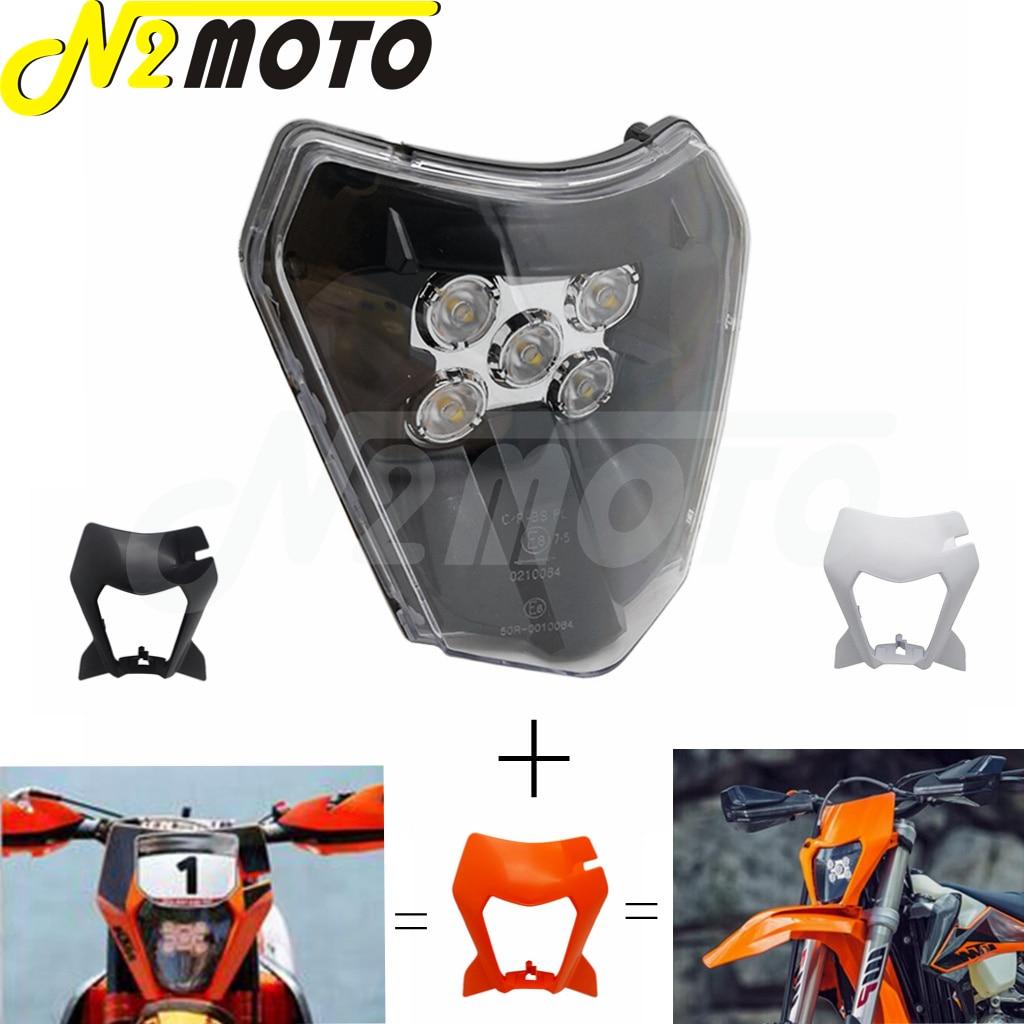Motocross enduro led farol máscara capa para ktm 125 150 250 300 350 400 450 500 sx xc SX-F XC-W exc 530 XC-W seis dias