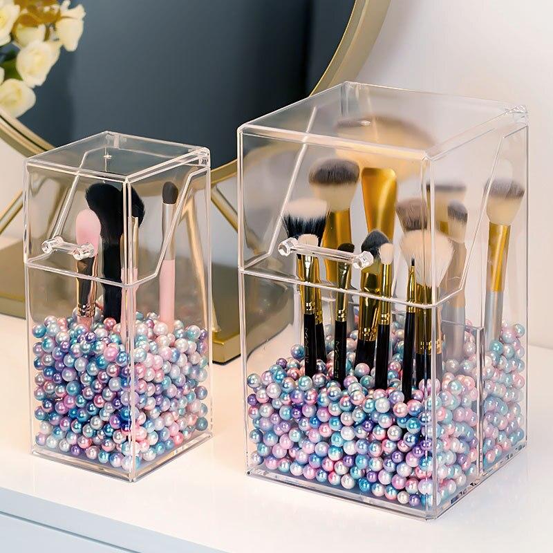 Acrylic Clear Makeup Brush Holder With Lid Vanity Countertop Makeup Organizer Waterproof Dustproof Cosmetic Brush Storage Box
