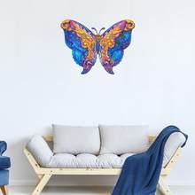Original de madeira animal quebra-cabeças misterioso colorido borboleta 3d quebra-cabeça fabuloso presente brinquedo para adultos crianças educacional