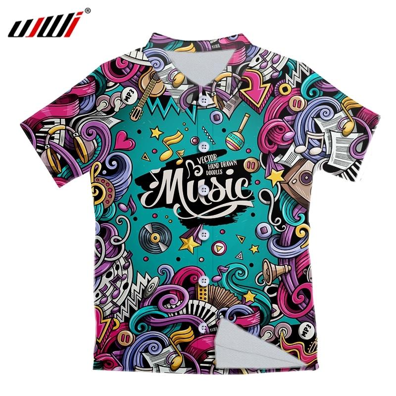 UJWI Mens Hawaiian Shirt Fashion Casual Button music Print Beach Short Sleeve Quick Dry Top Blouse XXS-6XL 1