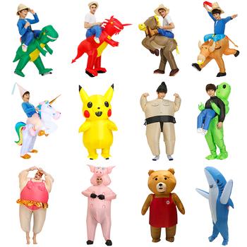 Wysokiej jakości dinozaur nadmuchiwany kostium Party kostiumy maskotki garnitur Cosplay disfraz Halloween kostiumy dla dorosłych dzieci sukienka tanie i dobre opinie KOOY Napompowane Odzieży Wakacyjny Unisex Zestawy Other 1006 Poliester inflatable Costume kids 120-150 and adult size150-195cm