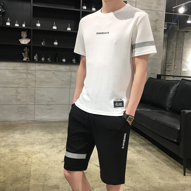 New Style Summer Men Sports Leisure Suit Short Sleeve T-shirt Teenager Korean-style Clothes Two Pieces-Men'S Wear Trend