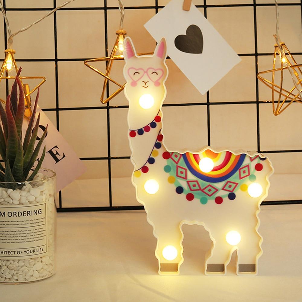 1PC 6leds Decorative Hanging Night Lamp Light Alpaca Shape Cute Battery Powered Bedside Gift Path Desktop 40JP02