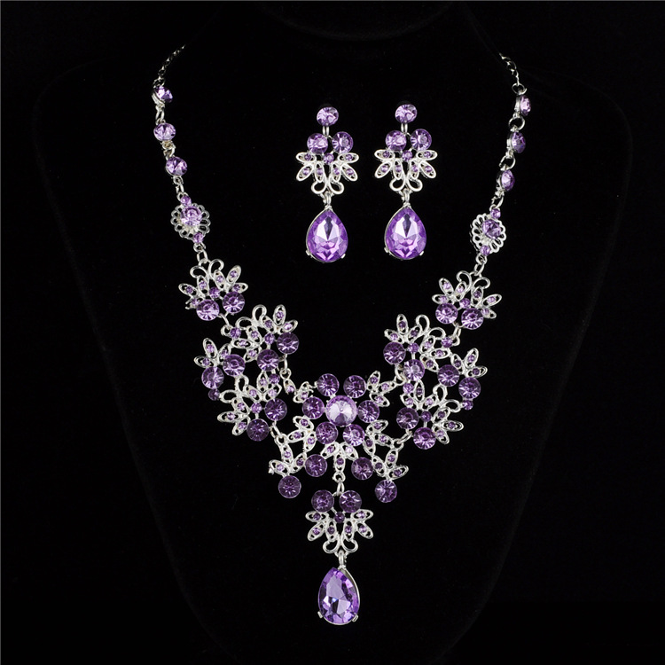 Cute Female Rainbow Crystal Jewelry Set Charm Silver Color Wedding Dangle Earrings For Women Luxury Bridal Flower Chain Necklace