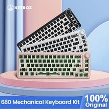 TM680 Kit tastiera meccanica Hot Swap Wireless 3 modalità RGB compatibile con 3/5 pin per tastiera manopola Cherry Gateron Kailh