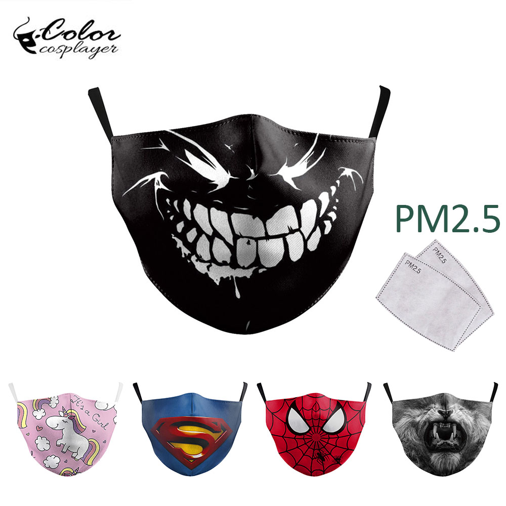 Color Cosplayer Cute Spider Face Mask Kids Cartoon Print Masks Protective PM 2.5 Reusable Mask Children Dust Masks Washable