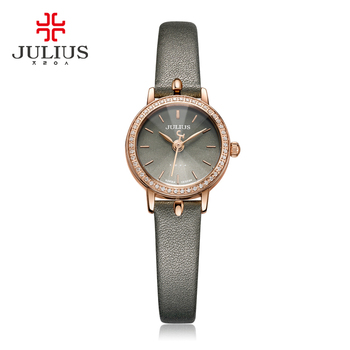 JULIUS 2017 Frühling Neue Design Uhr Zirkon Diamant Ultra Dünnen frauen Elegante Grau Leder Montre Femme Erkek Kol Saati JA-966