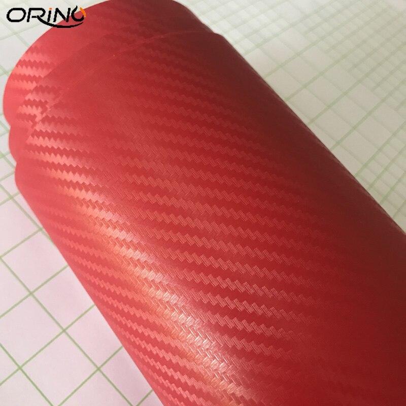 Red 3D Carbon Fiber Vinyl Wrap Sticker-6