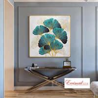 EECAMAIL DIY Современная алмазная живопись с голубым листом гинкго, полностью Алмазная картина для крыльца, прохода, алмазная вышивка, скандинав...