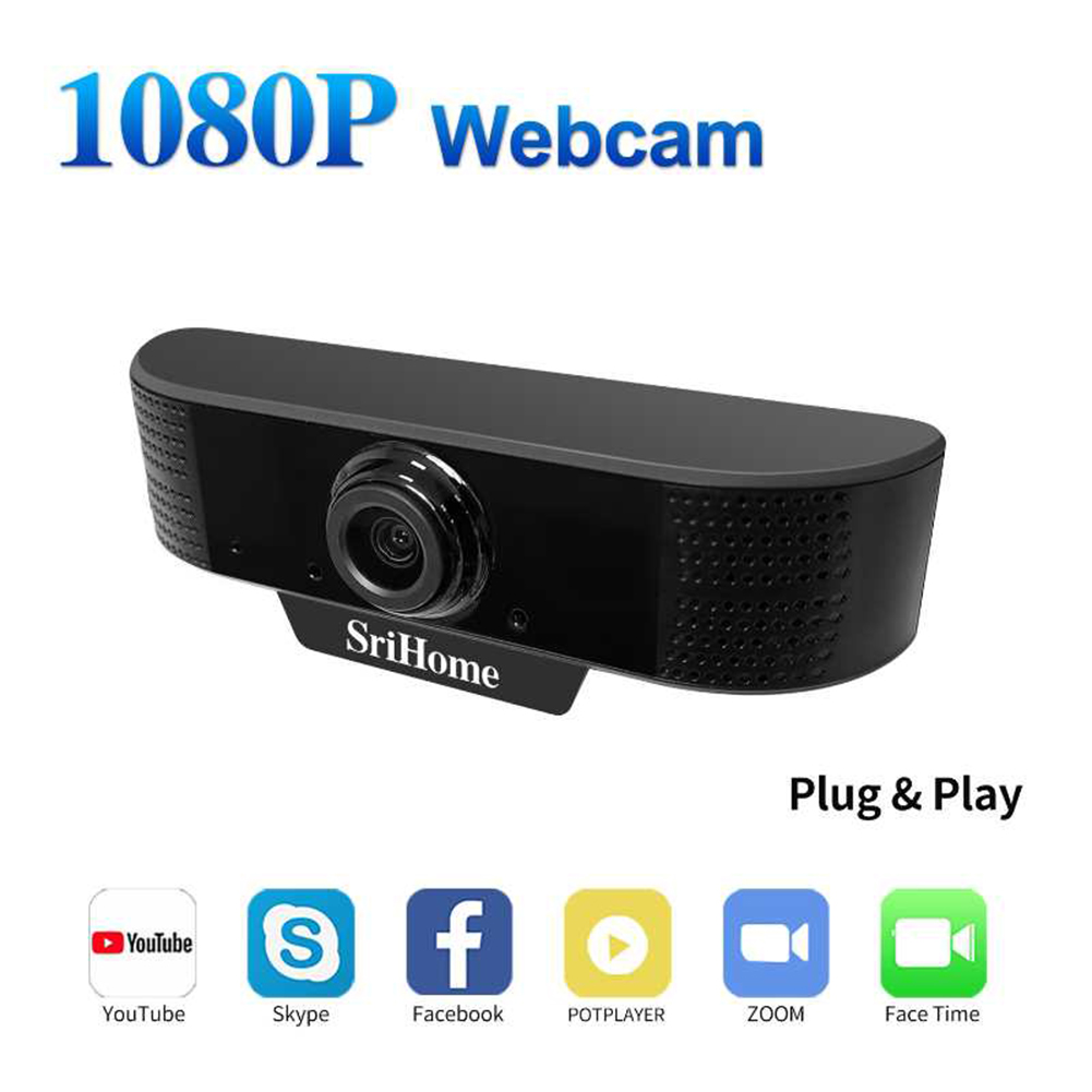 HD 1080P 30fps 2M Pixels USB Webcam Built-in Microphone Auto Focus Computer Peripheral Web Camera for Youtube PC Laptop