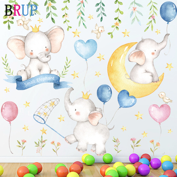 Cartoon Small Elephants Balloon Moon Wall Stickers Paint Style for Living Room Kids Decal Baby Nursery Decor Gift