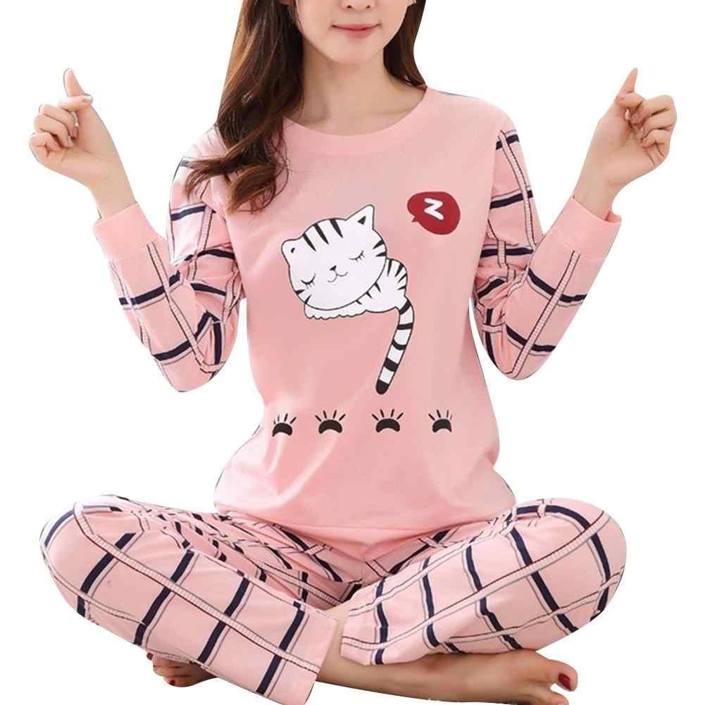 Inverno bonito dos desenhos animados atender imprimir pijamas manga longa duas peças casa wear feminino casual o-pescoço pijamas