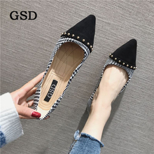 Women Flats Shallow-Loafers Spring Slip-On Pointed-Toe Fashion Ladies Casual Rivet New