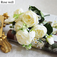 ROSEWELL New Silk Peonies Artificial Flower Bouquet 5 Big Head and 4 Bud  Wedding Christmas Decoration for Home Party