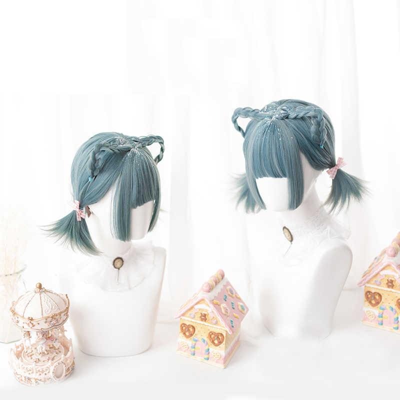 Gradient Blue Green Lolita Wig Harajuku Cosplay BOBO Short Straight Sweet Bangs Synthetic Hair for Adult Girls