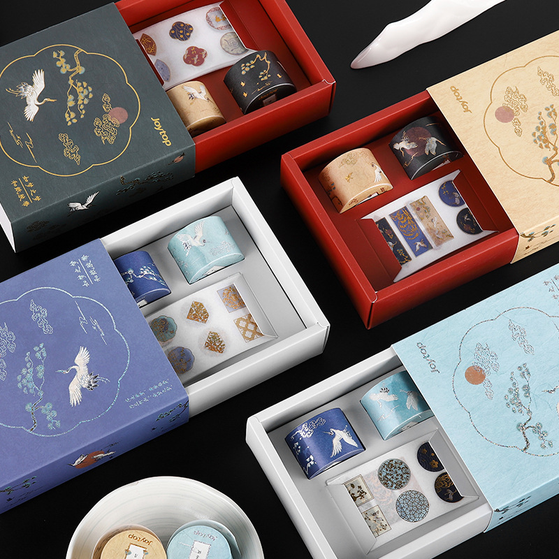 Bullet Journal Masking Sticker Washi-Tape-Set Flower Crane Label Flying Gilding DIY Decoration Masking Tape