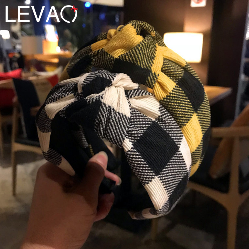 Levao Warm Retro Corduroy Plaid Print Headband Women Hair Bow Knotted Head Bezel Hoop Band Leopard Headbands Hair Accessories