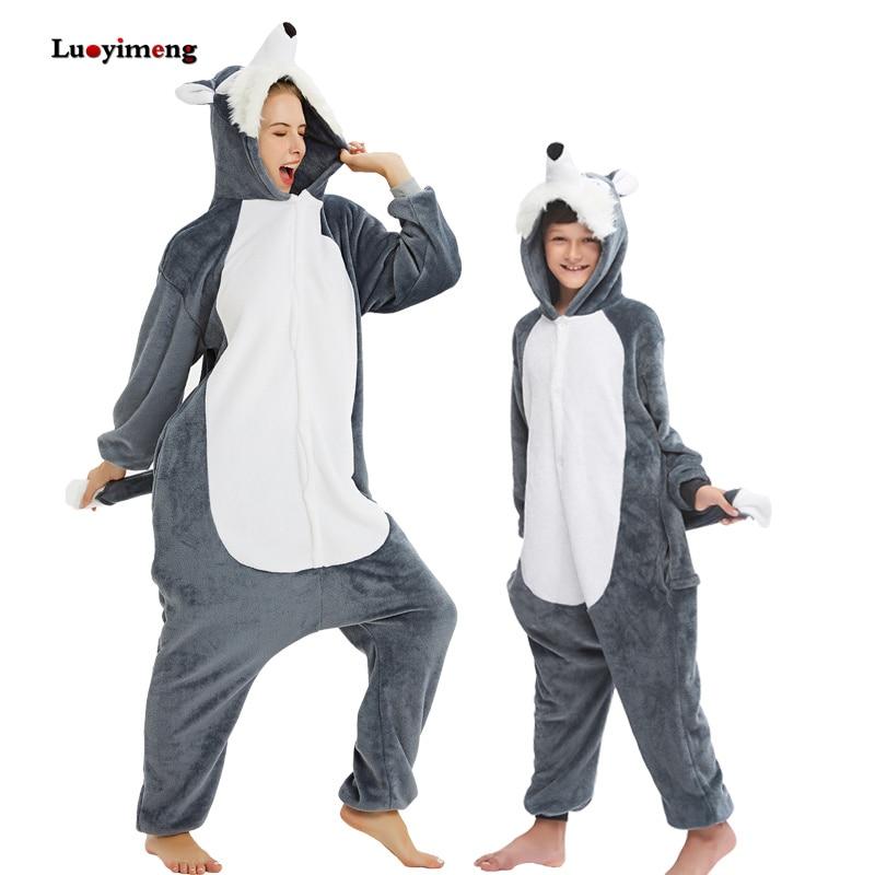 Animal Kigurumi Wolf Pajamas For Kids Adults Oneises Unicorn Pijama Sleepwear Women Pyjamas Winter Hooded Overalls Boys Jumpsuit