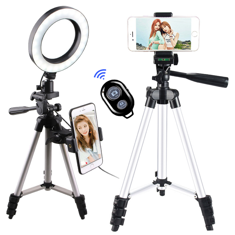 """Phone Selfie Ring Light 6"""" Dimmable USB Plug Round Lamp With Tripod Bluetooth For Studio Photography Video Photo Ringlight"""