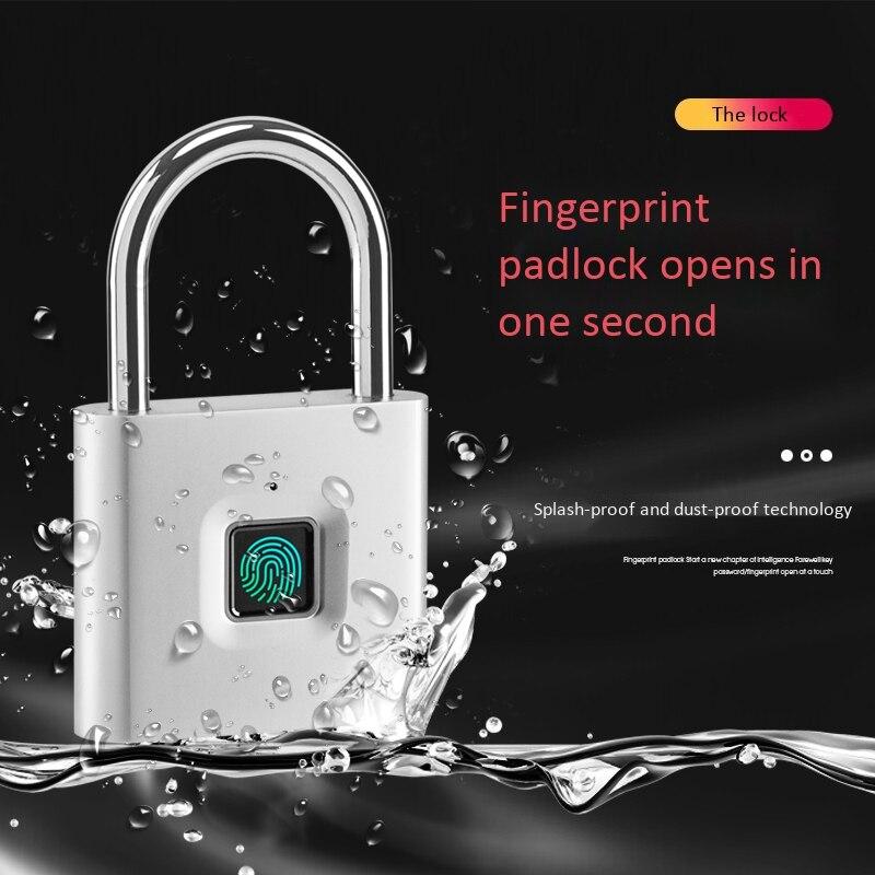 Security Keyless USB Rechargeable Door Lock Fingerprint Smart Padlock Quick Unlock