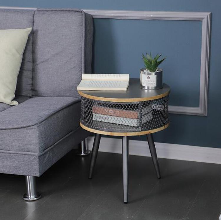 Retro Iron storage coffee table home living room bedroom sofa corner table wood balcony round table