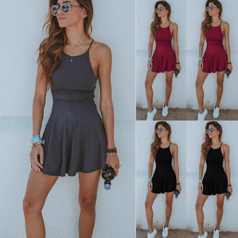 Mini Sling Dresses Women's Cotton Blend Sleeveless Spaghetti Strap Dress  Party Club Beach Dress Short Fit Flare Dresses