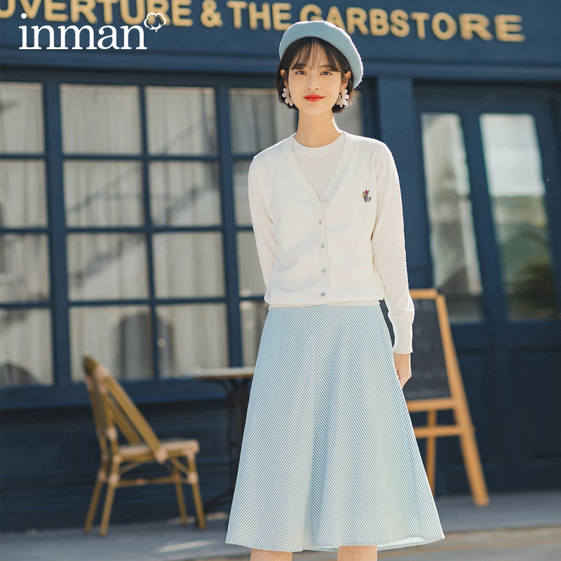 INMAN 2020 Spring New Arrival Pure And Fresh Literary Girlish Age-reducing Youth Stripe All-match Skirt