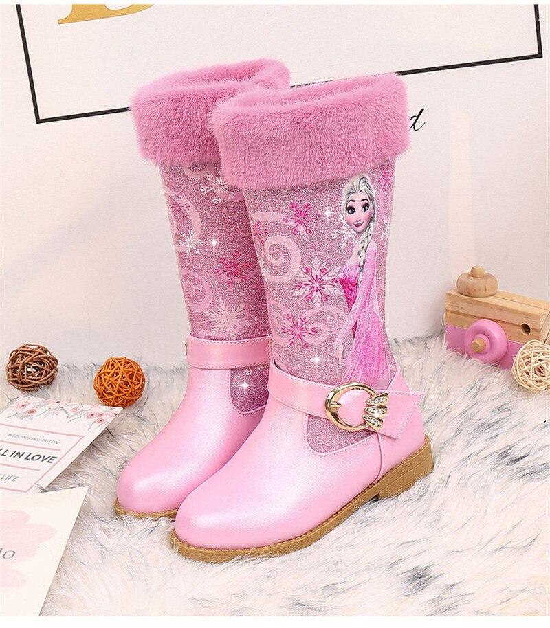 Elsa Princess Kids High Boots Girls Winter Warm Plush Snow Boots Disney Frozen Print Children's Over The Knee Boots 3#20/03D50