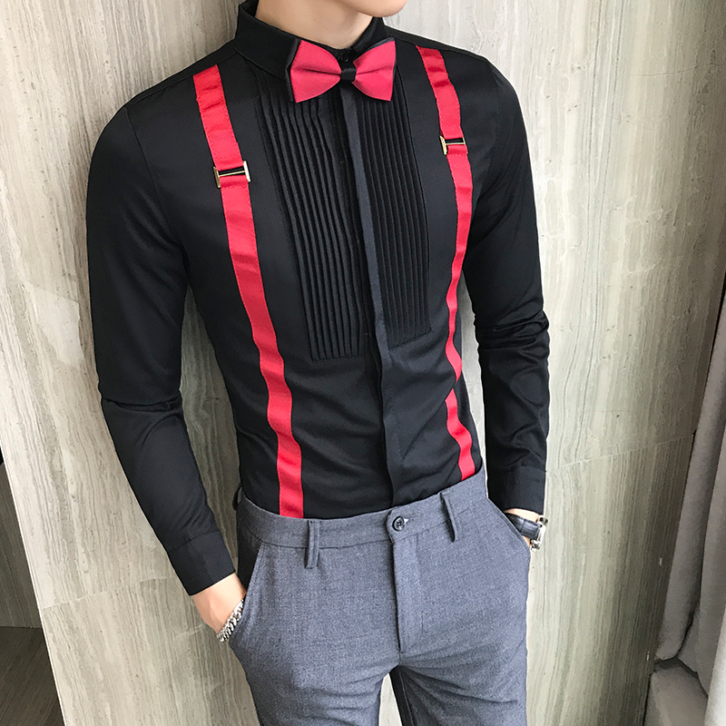 Men's Tuxedo Shirt and Bow-tie Chest Pleated Strap Long Sleeve Slim Fit Prom Dress Blouse Black Red White Wedding Social Tops