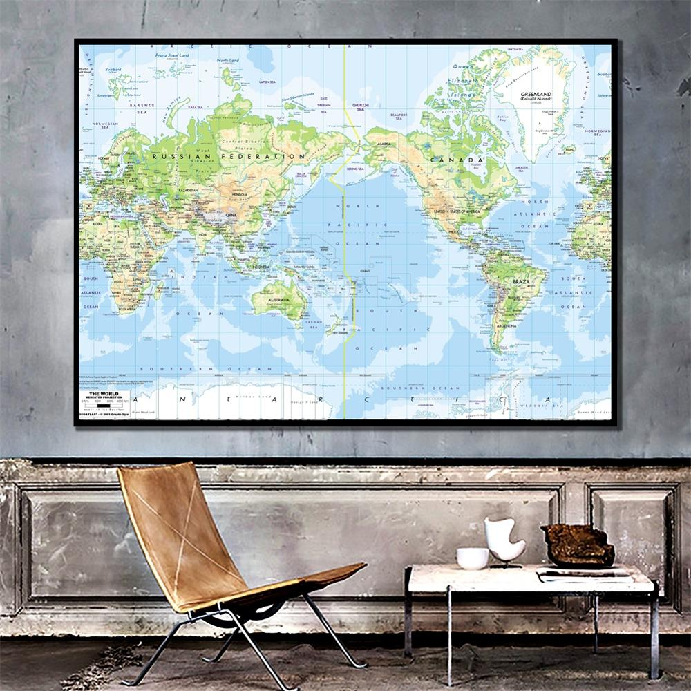 A2 Size The World Map Mercator Projection Fine Canvas Waterproof Wall Map For School Office Classroom Wall Decor