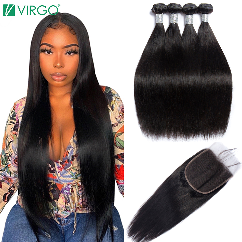 Virgo Peruvian Straight Hair Bundles With Closure 5x5 Lace Closure With 3 Bundles 4 PCS Remy Human Hair Bundles With Closure