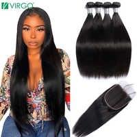 Virgo Peruvian Straight Hair Bundles With Closure 5x5 Lace Closure With 3 Bundles 4 PCS Remy Human Hair Bundles With Closure