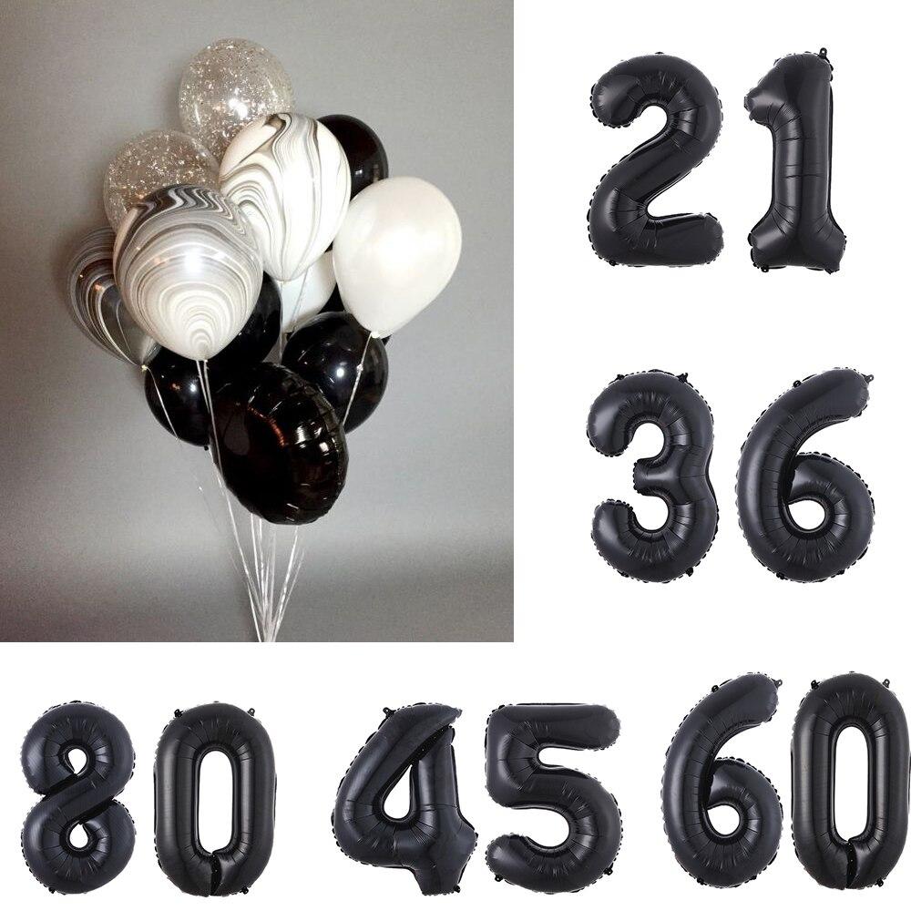 Воздушные шары с черным агатом, баннер из фольги, 2 шт., 30 дюймов, 18, 22, 30, 40, 60, украшение для дня рождения, для взрослых, надпись на день рождения...
