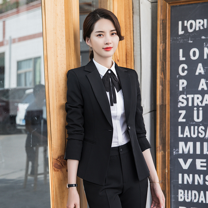 Two Piece Setautumn And Winter New Temperament Commute Slim Long-sleeved Suit Trousers Two-piece Office Ladies Professional Suit
