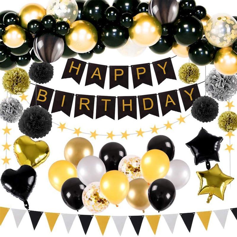 Adulte noir doré feuille ballons fête décoration joyeux anniversaire bannière papier tissu pompons cadeau anniversaire fournitures