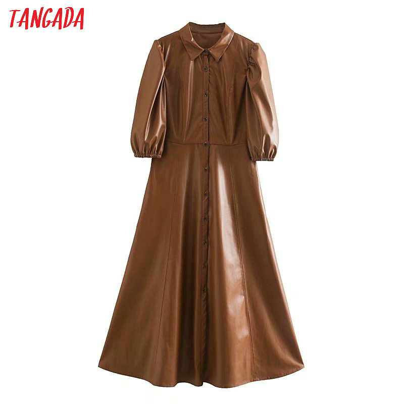 Tangada Women Brown PU Faux Leather Dress Short Sleeve Retro 2020 Fashion Elegant Office Ladies A Line Midi Dress Vestido 5Z120