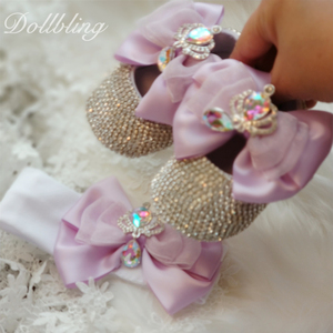 Image 5 - يونيكورن مستوحاة رائع الأرجواني لوليتا Bowknot الملكي تاج تصميم AB كريستال الوليد سرير أحذية هدايا للتعميد