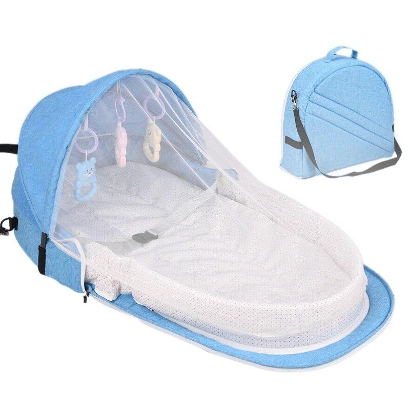 Переносная кровать с игрушками для малышей, складная детская кровать для путешествий, защита от солнца, сетка от комаров, дышащая корзина для сна для младенцев - Цвет: L